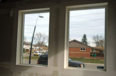Garage Interior Frosted Glass Film Denver - Before